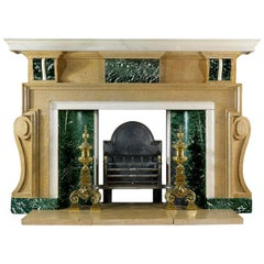 20th Century Fossil Stone and Marble Chimneypiece in the Palladian Manner