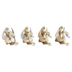 20th Century Four French Brass Bathroom or Kitchen Hooks Depicting Swans