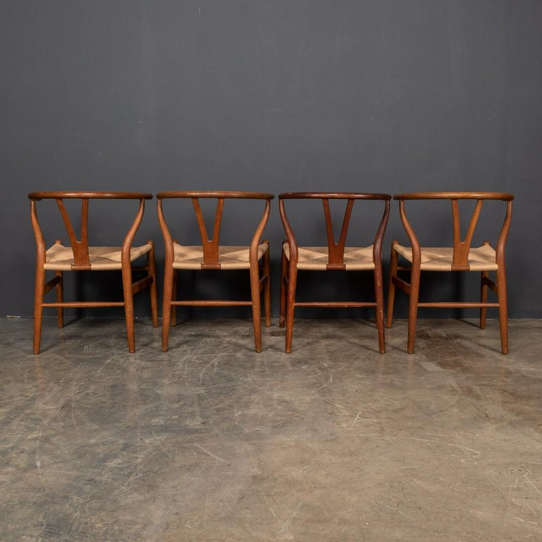 Papercord 20th Century Four Wishbone Dining Chairs by Hans J Wegners, circa 1960 For Sale