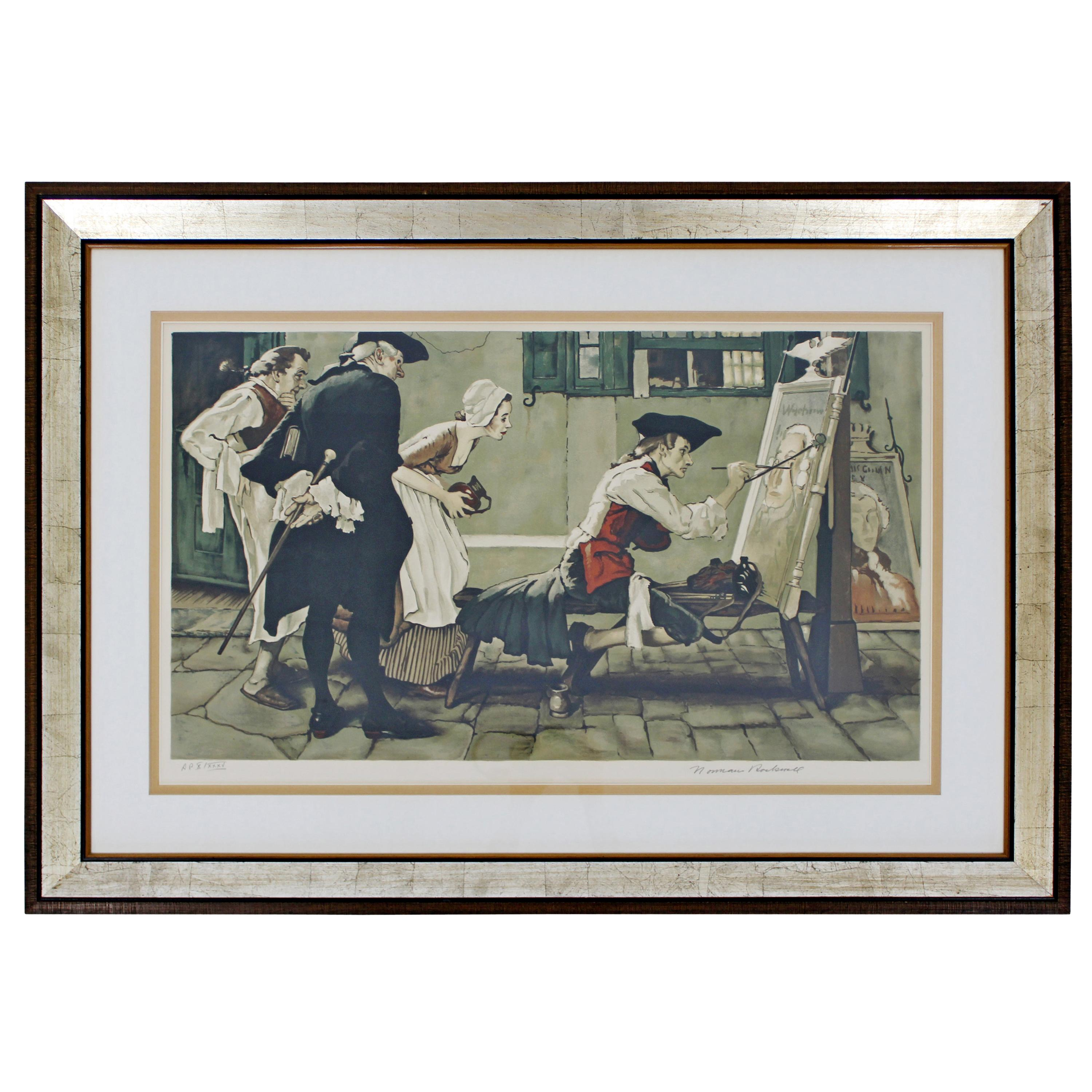 20th Century Framed Modern Illustration A.P. Litho Signed Norman Rockwell 1936