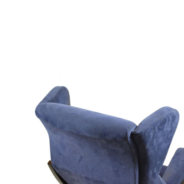 Velvet 20th Century Franco Albini Couple of Armchairs Model Fiorenza for Arflex For Sale