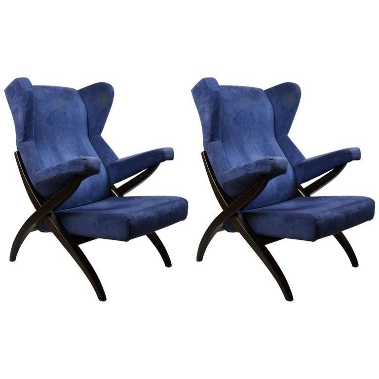 20th Century Franco Albini Couple of Armchairs Model Fiorenza for Arflex For Sale