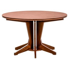 20th Century Franco Albini Round Wood Table with Radial Elements for Poggi