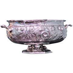 20th Century Fratelli Ponzone Rococo Engraved Silver Centerpiece, 1930s