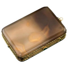 20th Century French 18-Karat Gold Mounted Agate Minaudiere, circa 1900