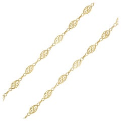 20th Century French 18 Karat Yellow Gold Filigree Shuttle Chain Necklace