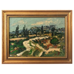 20th Century French Abstract Landscaping Oil Painting by Jacques Pellegrin