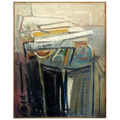 20th Century French Abstract Painting of Books on a Console by Daniel Clesse