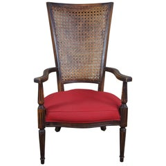 20th Century French Armchair Distressed Walnut Caned Back Red Seat