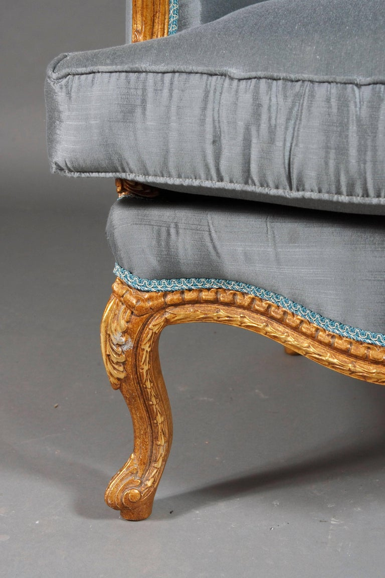 Hand-Carved 20th Century French Armchair Louis Quinze Baroque Style For Sale