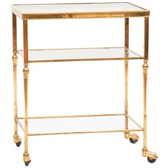 20th Century French Art Deco Bar Cart, Brass and Glass