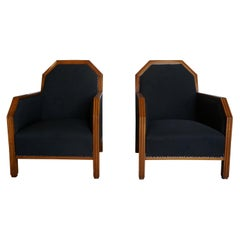20th Century French Art Deco Club Chairs, Black Linen Corner Chairs