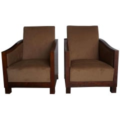 20th Century French Art Deco Club Chairs, Brown Walnut Side Chairs