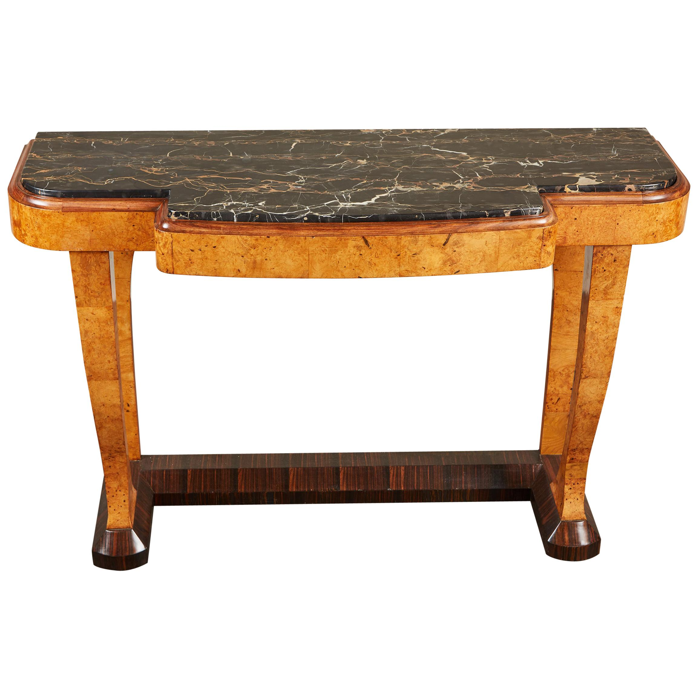 20th Century French Art Deco Console with Marble Top