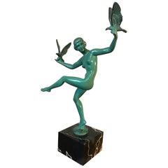 20th Century French Art Deco Max Le Verrier Bronze Statue, 1930s
