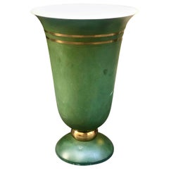 20th Century French Art Deco Metal Green Table Lamp