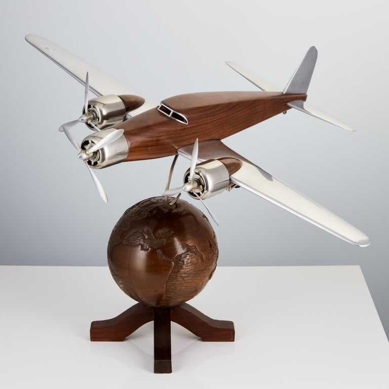 Mid-20th Century 20th Century French Art Deco Model of an Aircraft on a World Globe, circa 1930 For Sale