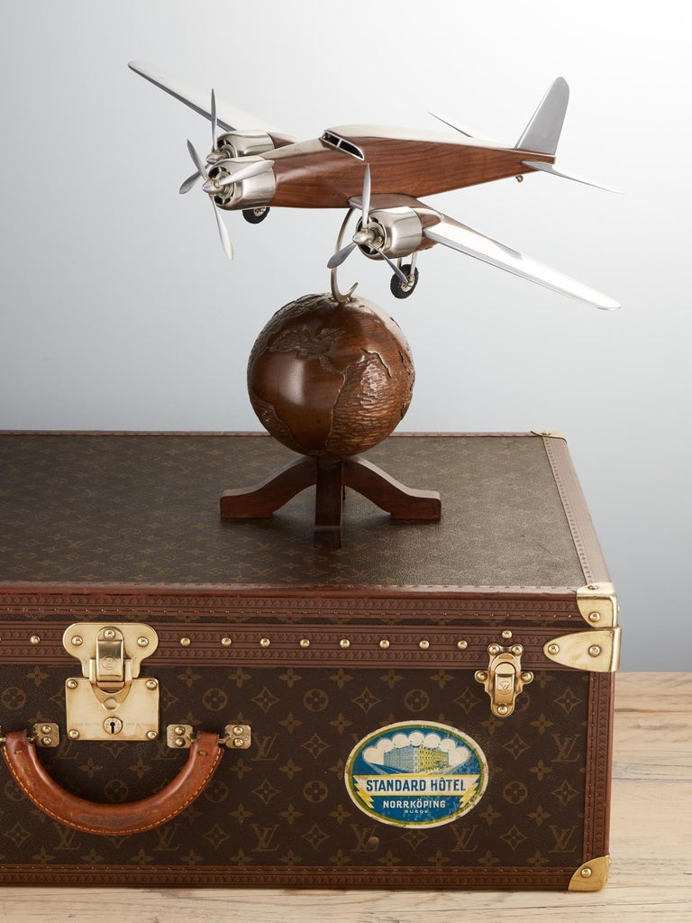 Chrome 20th Century French Art Deco Model of an Aircraft on a World Globe, circa 1930 For Sale