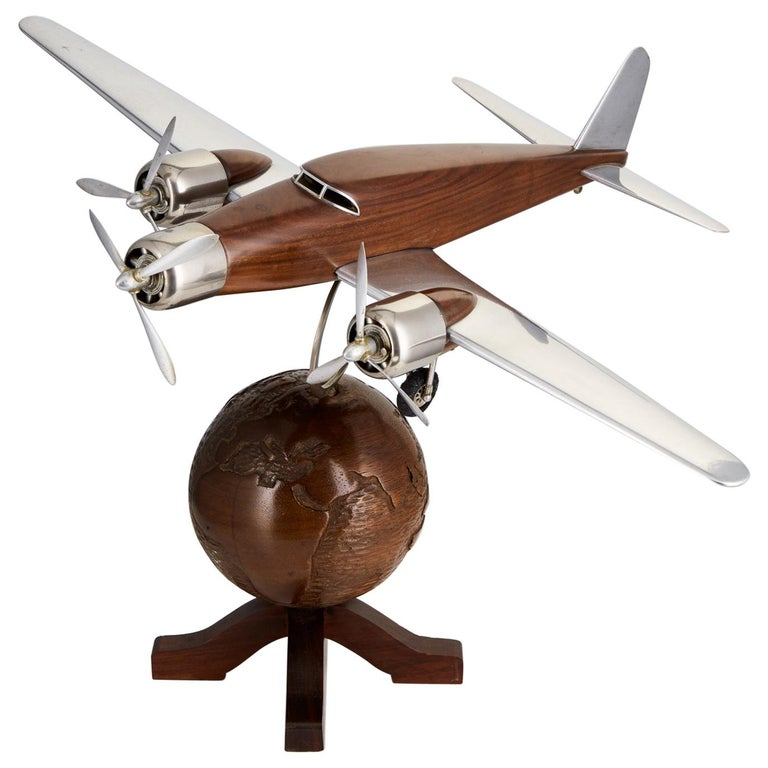 20th Century French Art Deco Model of an Aircraft on a World Globe, circa 1930 For Sale