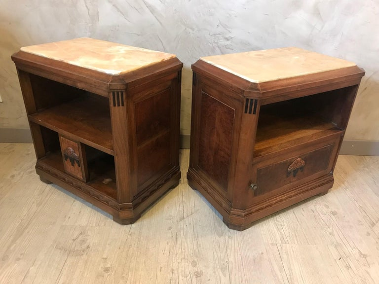 20th Century French Art Deco Pair of Bedside Table, 1930s For Sale 3