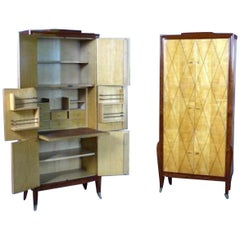 20th Century French Art Deco Pair of Rosewood and Sycamore Secretary Cupboard