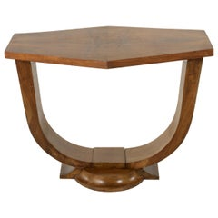 20th Century French Art Deco Period Book Matched Walnut Hexagonal Console Table