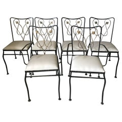 20th Century French Art Deco Set of Metal Armchair and Chairs, 1930s