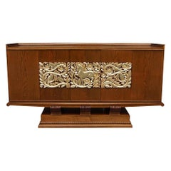20th Century French Art Deco Sideboard, Oakwood Credenza by Christian Krass