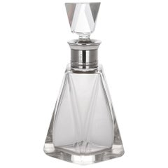 20th Century French Art Deco Solid Silver & Cut Glass Decanter, c.1930