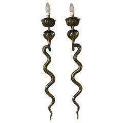 20th Century French Art Deco Style Pair of Brass Snake Sconces, circa 1960s