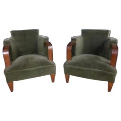 20th Century French Art Deco Velvet Armchair Pair, 1930s