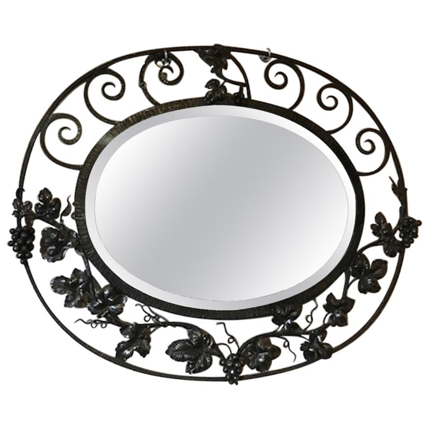 20th Century French Art Deco Wrought Iron Beveled Mirror, 1930s