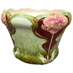 20th Century French Art Nouveau Flowers Barbotine Cachepot, 1900s