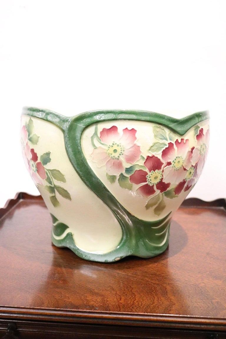 Hand-Painted 20th Century French Art Nouveau Hand Painted Ceramic Cachepot Vase, 1920s For Sale