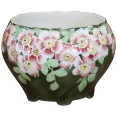 20th Century French Art Nouveau Hand-Painted Green Ceramic Cachepot Vase, 1920s