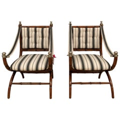 20th Century French Beechwood Armchairs Upholstered in Casa Branca Fabric