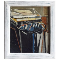 20th Century French Blue Abstract Still Life Painting by Daniel Clesse