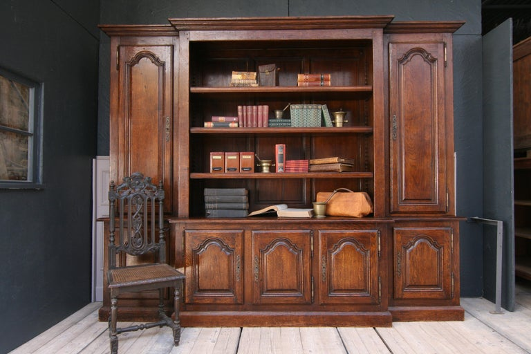 Brass 20th Century French Bookcase Cabinet Made of Oak For Sale