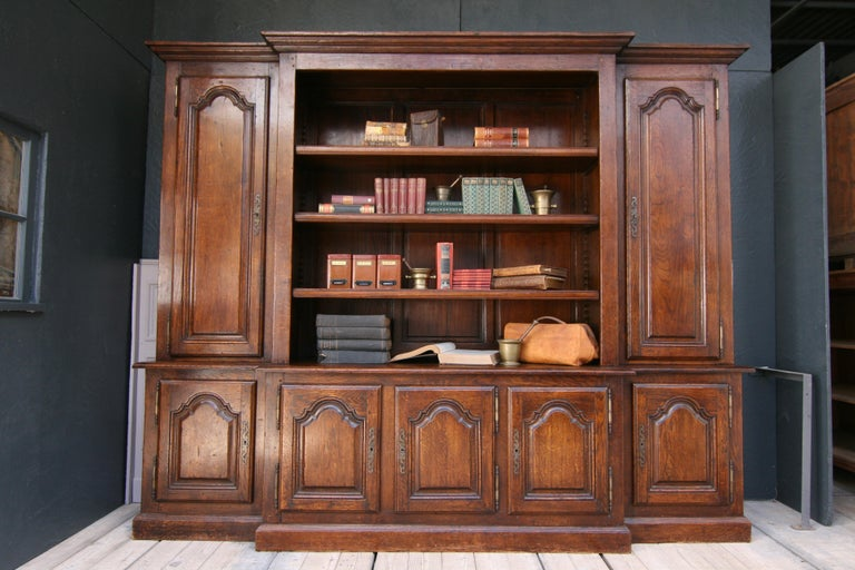 20th Century French Bookcase Cabinet Made of Oak For Sale 1