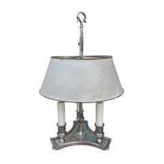 Early 20th Century French Bouillotte Lamp with Custom Painted Shade, Stamped