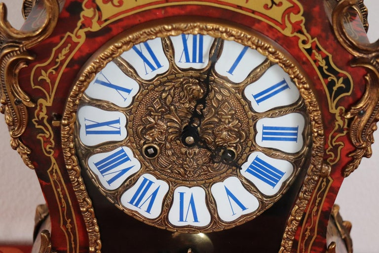 20th Century French Boulle Louis XV Style Table Clock Pendule In Excellent Condition For Sale In Bosco Marengo, IT