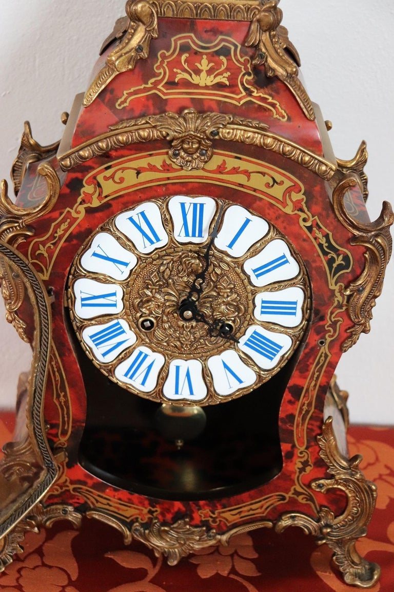 20th Century French Boulle Louis XV Style Table Clock Pendule For Sale 3