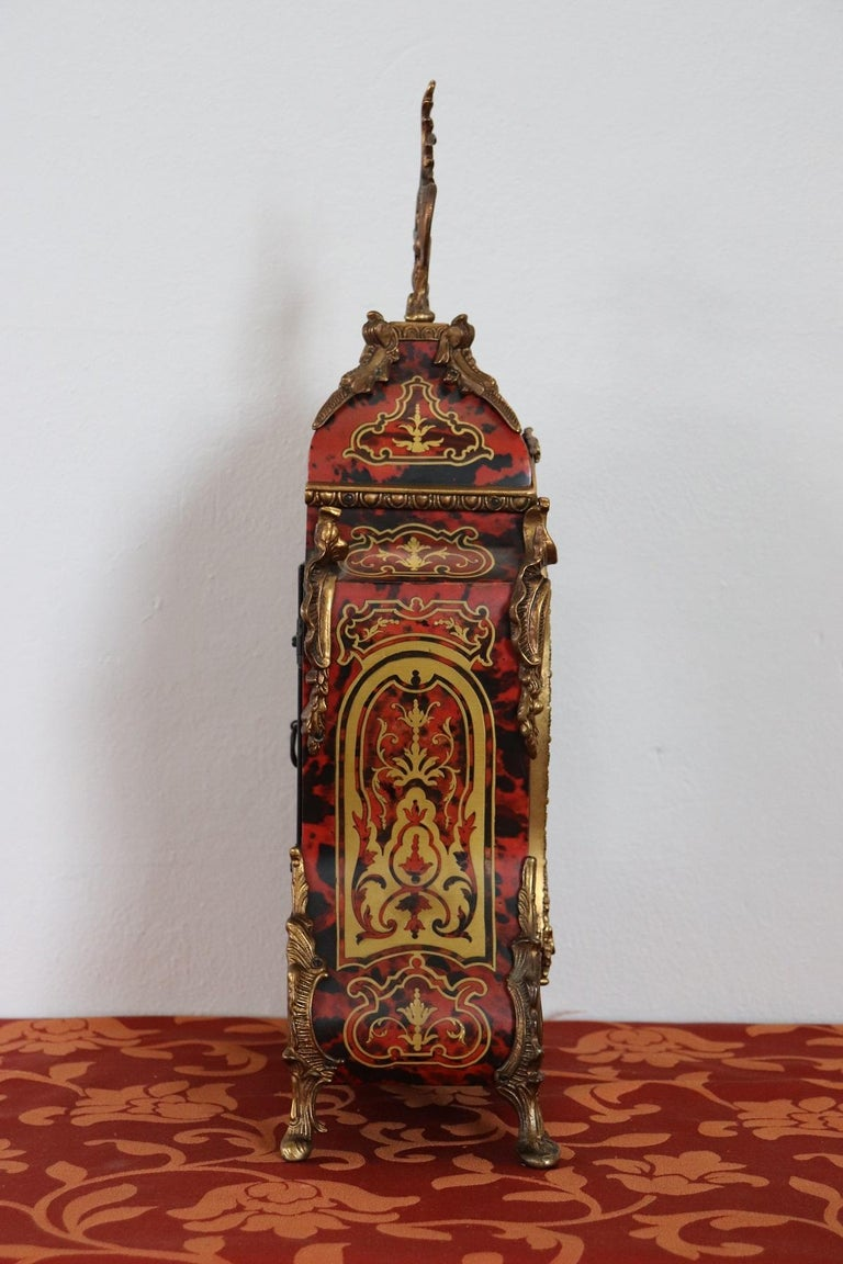20th Century French Boulle Louis XV Style Table Clock Pendule For Sale 4