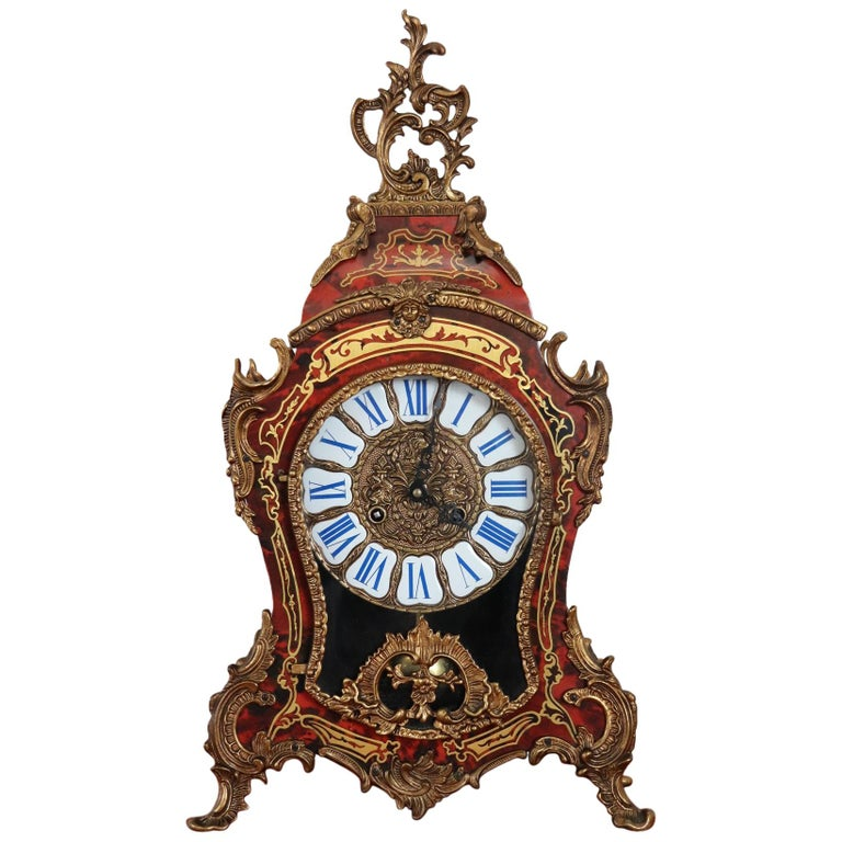 20th Century French Boulle Louis XV Style Table Clock Pendule For Sale