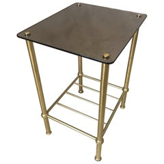 20th Century French Brass and Mirror Side Table, 1970s