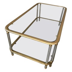 20th Century French Brass, Chromed Metal and Glass Coffee Table, 1970s