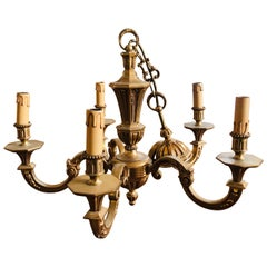 20th Century French Brass Decorated Chandelier with Five Lights