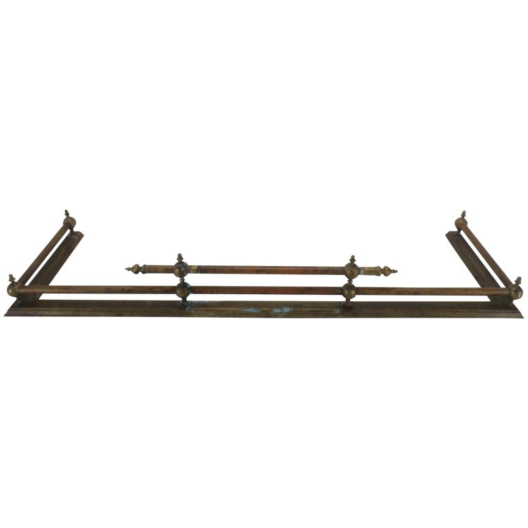 20th Century French Brass Fireplace Fender For Sale