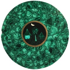 20th Century French Brass-Mounted Malachite and Pietra Dura Round Box
