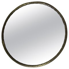 20th Century French Brass Twisted Rounded Mirror, 1940s